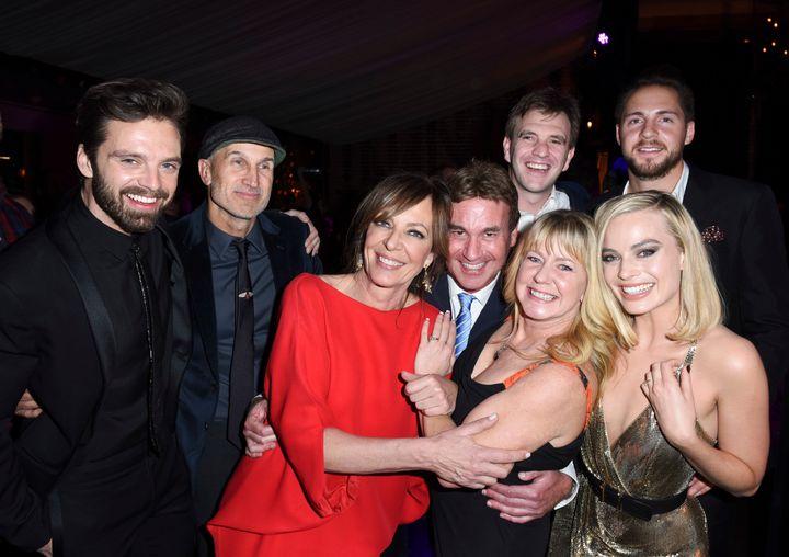 From left: Sebastian Stan, Craig Gillespie, Allison Janey, Steven Rogers, Bryan Unkeless, Tonya Harding, Ricky Russert and Margot Robbie pose together.