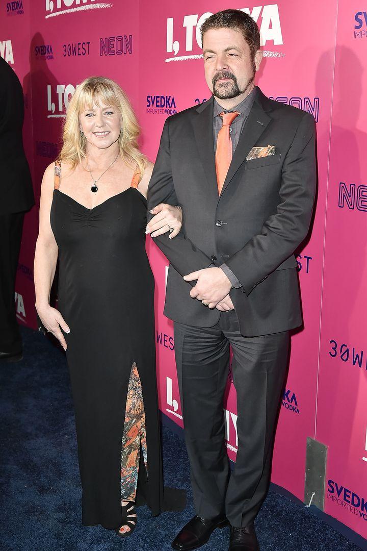 "Harding with Joseph Jens Price at the LA premiere of ""I, Tonya."""