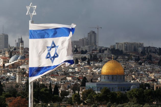 An Israeli flag near the Dome of Rock in Jerusalem's Old