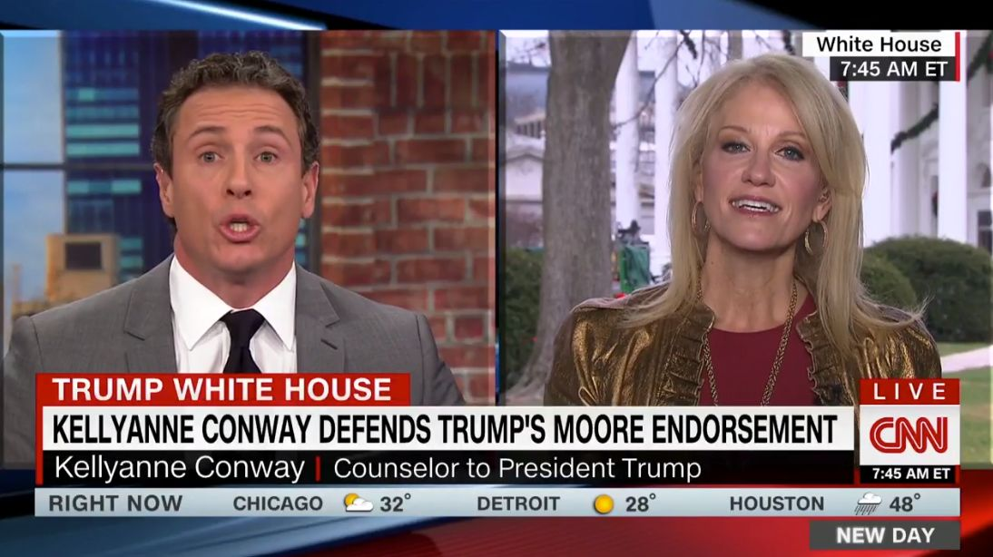 Kellyanne Conway Defends Trump's 'Tremendous Moral Standards' After Roy Moore Endorsement