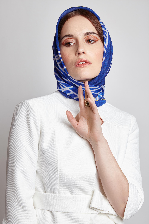Azurite Blue, printed scarf in AAA grade silk, £180