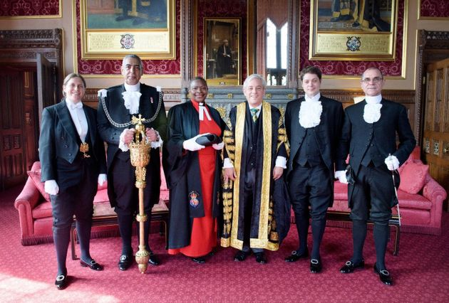 Sarah Binstead-Chapman with Speaker John Bercow the Serjeant-at-Arms and other members of the doorkeeping
