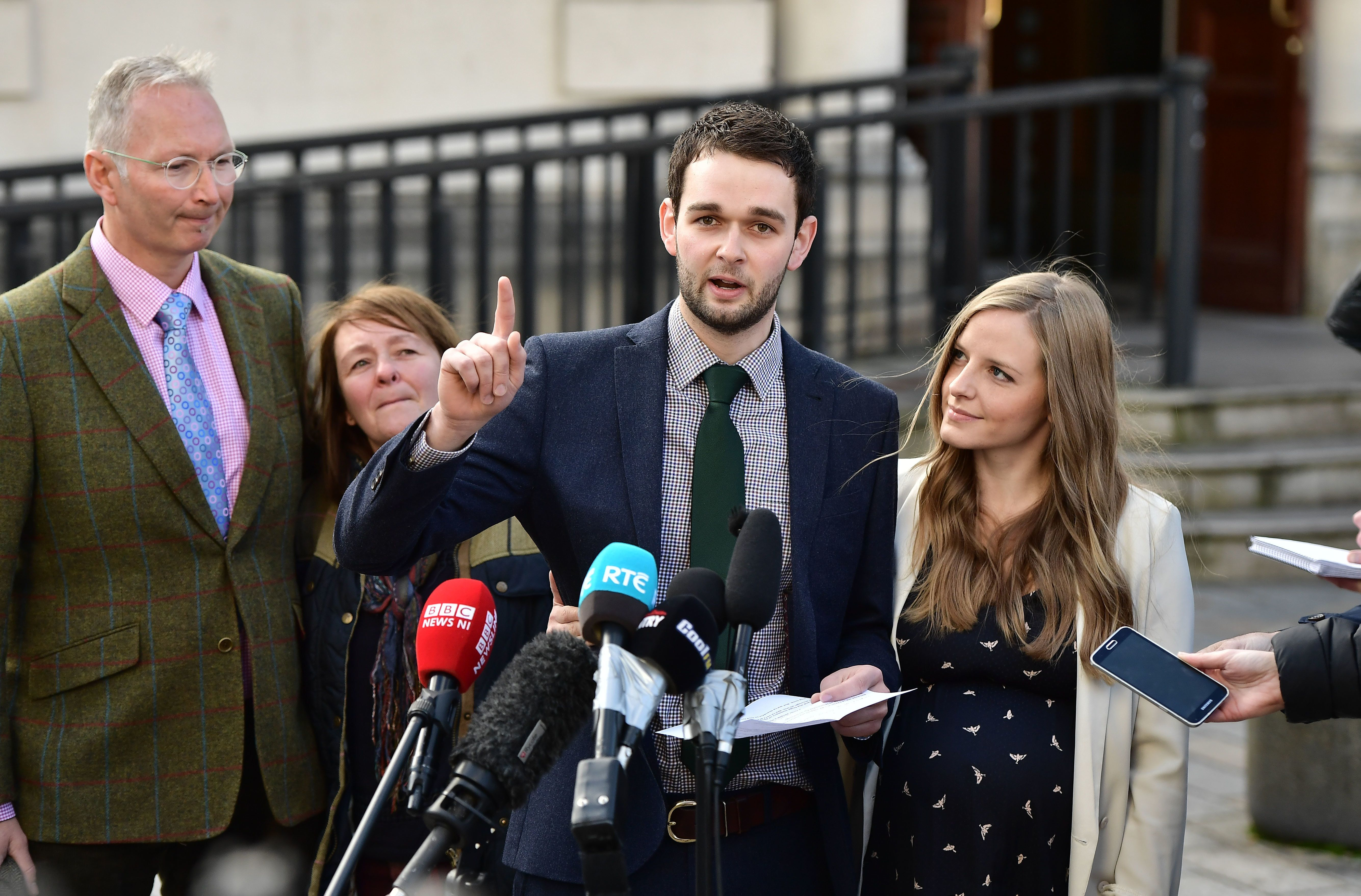 BELFAST, NORTHERN IRELAND - OCTOBER 24: Daniel McArthur (2nd R), managing director of Ashers Bakery and his wife Amy McArthur (R) hold a press conference outside Belfast high court alongside family members Colin McArthur (L) and Karen McArthur (2nd L) after losing their appeal in the so called 'Gay Cake' case on October 24, 2016 in Belfast, Northern Ireland. Ashers Bakery, a local business in Northern Ireland run by an evangelical Christian family was appealing a decision at Belfast Magistrates court last year that found that they had discriminated against gay activist Gareth Lee. Mr Lee had ordered a cake to mark international day against homophobia featuring the Sesame Street characters Bert and Ernie and bearing a pro gay marriage message. The three judges presiding over the case said it did not follow that icing a message meant you supported that message. Unlike the rest of the United Kindom or the Republic of Ireland same-sex marriage is not currently legal in Northern Ireland. Several attempts to change the law in the province have met with opposition from the largest political party, the Democratic Unionist Party. (Photo by Charles McQuillan/Getty Images)