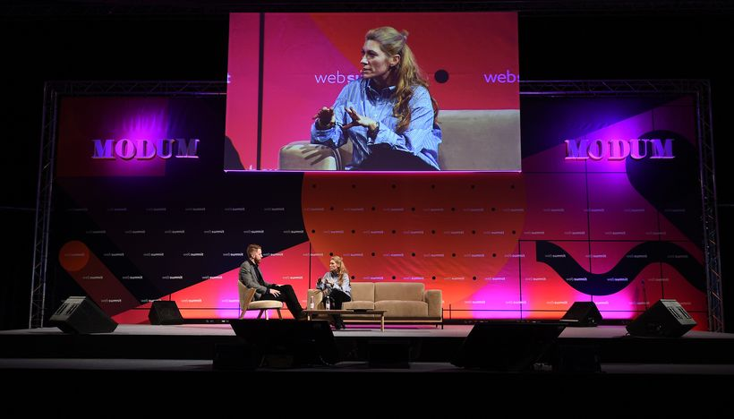 Marie-Claire Daveu onstage at Web Summit with Derek Mead, VICE'sGlobal Executive Editor