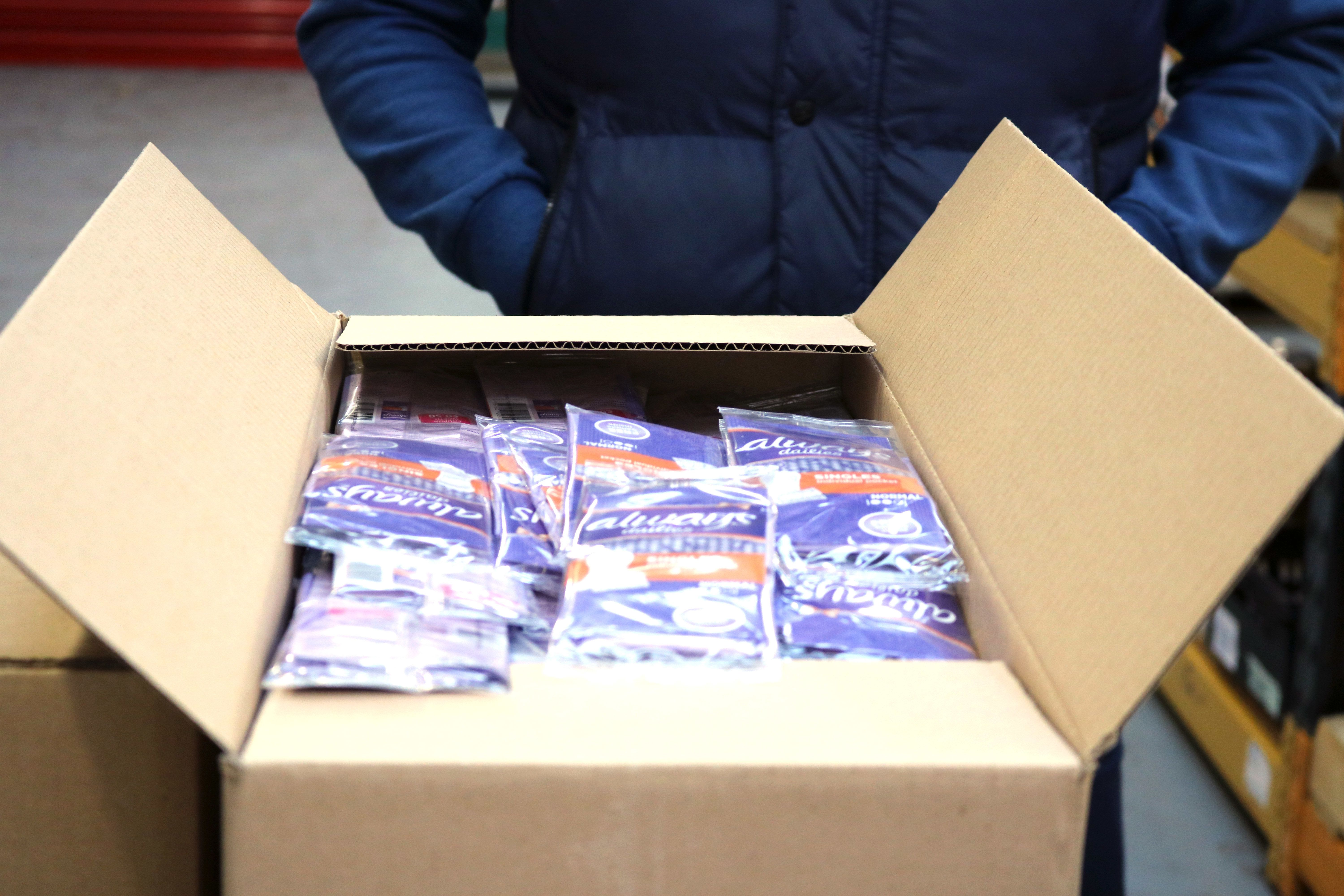 <strong>The Well food bank in Wolverhampton regularly distributes sanitary products to those requesting food parcels</strong>