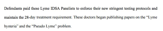 "The lawsuit refers to insurers paying IDSA physician researchers to uphold their ""arbitrary guidelines."""