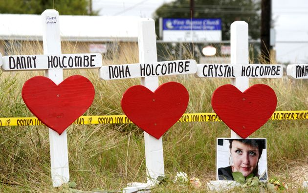 A line of crosses memorializes some of the victims of the Sutherland Springs