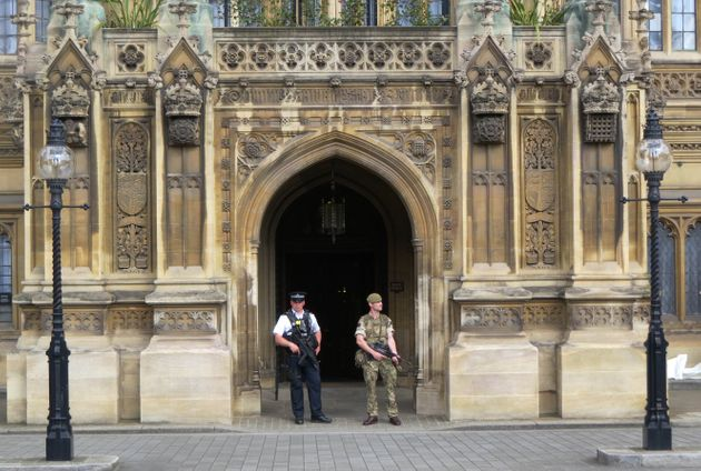 Police and military standing guard in Parliament after the Westminster