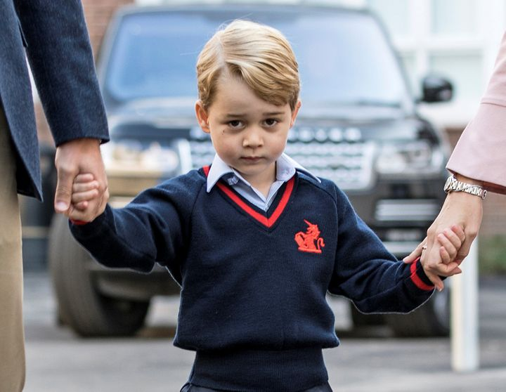 Prince George arrives for his first day of school in London on Sept. 7, 2017.
