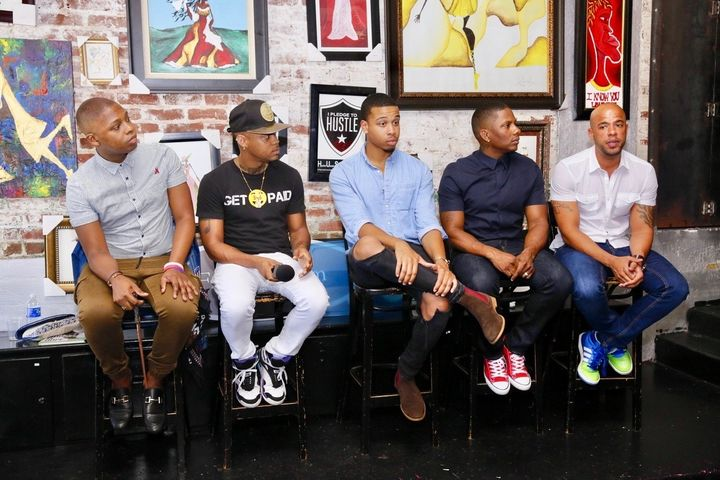 """<p>A LGBTQIA panel discussion (l-r) Vaughn Alvarez, Rahim Brazil (actor """"About Him""""), Brandon Karson (actor """"About Him""""), Juan Smalls and Gee Smalls (founders of The Gentlemen's Foundation)</p>"""