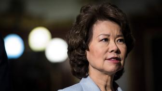 WASHINGTON, DC - JUNE 8: Secretary of Transportation Elaine Chao greets others before an Infrastructure Summit Working luncheon in the Indian Treaty Room in the Eisenhower Executive Office Building on the White House complex in Washington, DC on Thursday, June 08, 2017. (Photo by Jabin Botsford/The Washington Post via Getty Images)