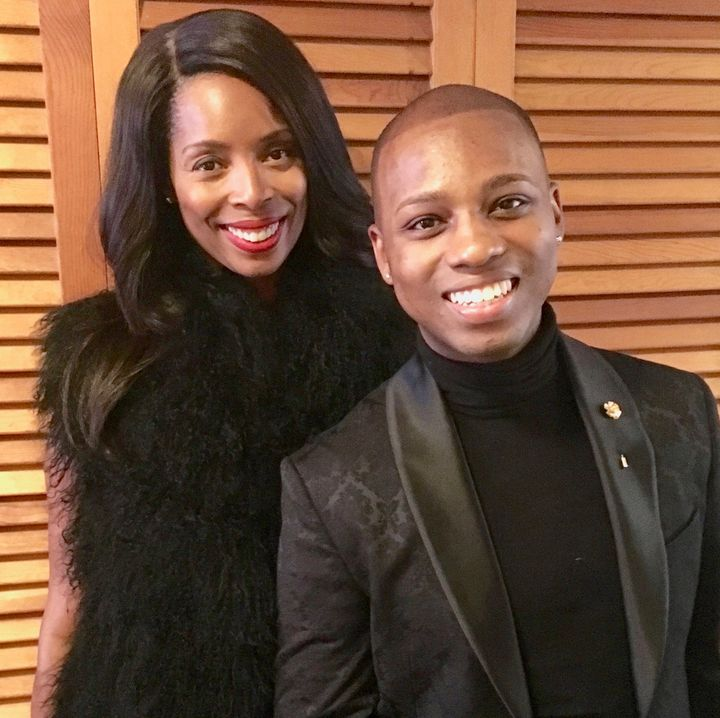 """<p>Vaughn Alvarez works with director Tasha Smith on a press day for TV One's original film, """"When Love Kills: The Falicia Blakely Story"""" </p>"""