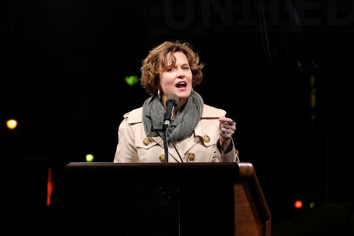 "Betsy Hodges at a ""We Stand United"" rally in New York City the day before Trump's inauguration."