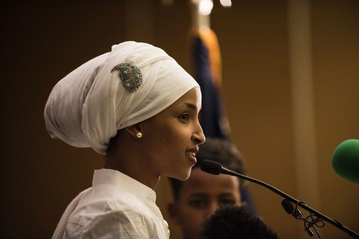 Ilhan Omar delivers her acceptance speech on Nov. 8, 2016, after being elected to the Minnesota state House of Repr