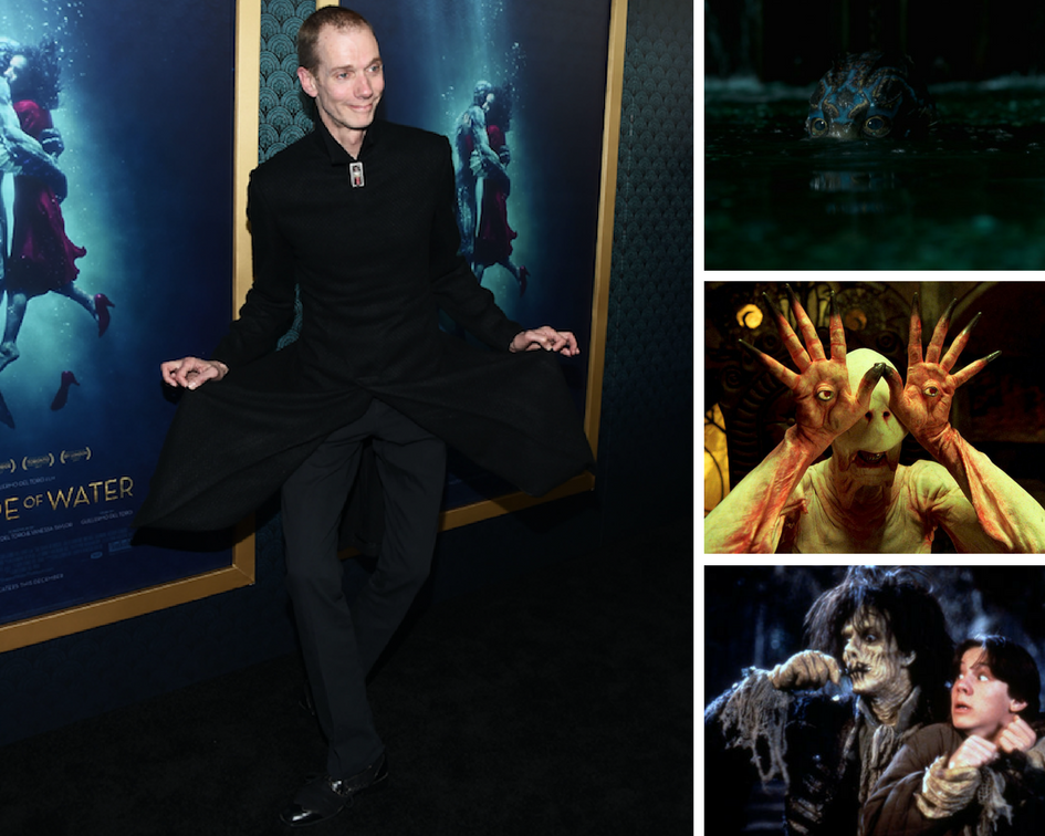 "Left: Doug Jones attends a ""Shape of Water"" screening on Nov. 15, 2017. Right: Doug Jones in ""The Shape of Water,"" ""Pan's Lab"
