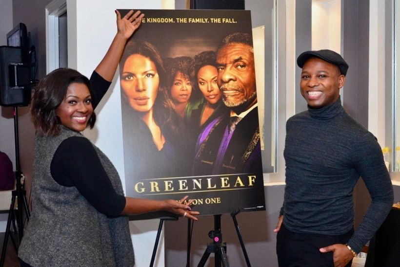 "Vaughn Alvarez on a press day with Deborah Joy Winans of ""Greenleaf"""