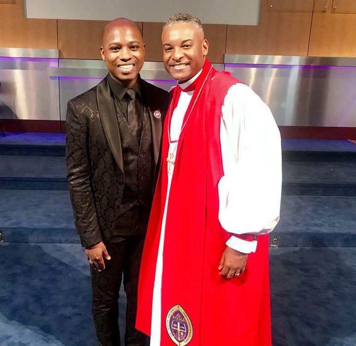 <p>Vaughn Alvarez with his pastor, mentor, and client, Bishop Oliver Clyde Allen, III</p>