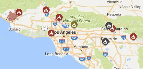 A map of the fires surrounding Los Angeles Wednesday morning. Red and yellow icons indicate a fire that's actively burning. A
