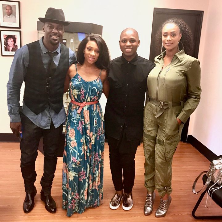 """<p>Vaughn Alvarez with Lance Gross, Lil Mama, and Tami Roman from the original TV One film, """"When Love Kills: The Falicia Blakely Story"""" </p>"""