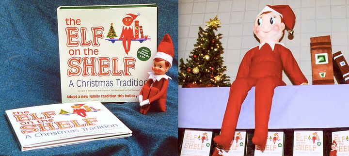 Left: The first product shots taken by Chanda Bell in her parents' backyard in 2004. Right: The first Elf on the Shelf trade show booth at Mistletoe Market in Marietta, Georgia, in 2005.