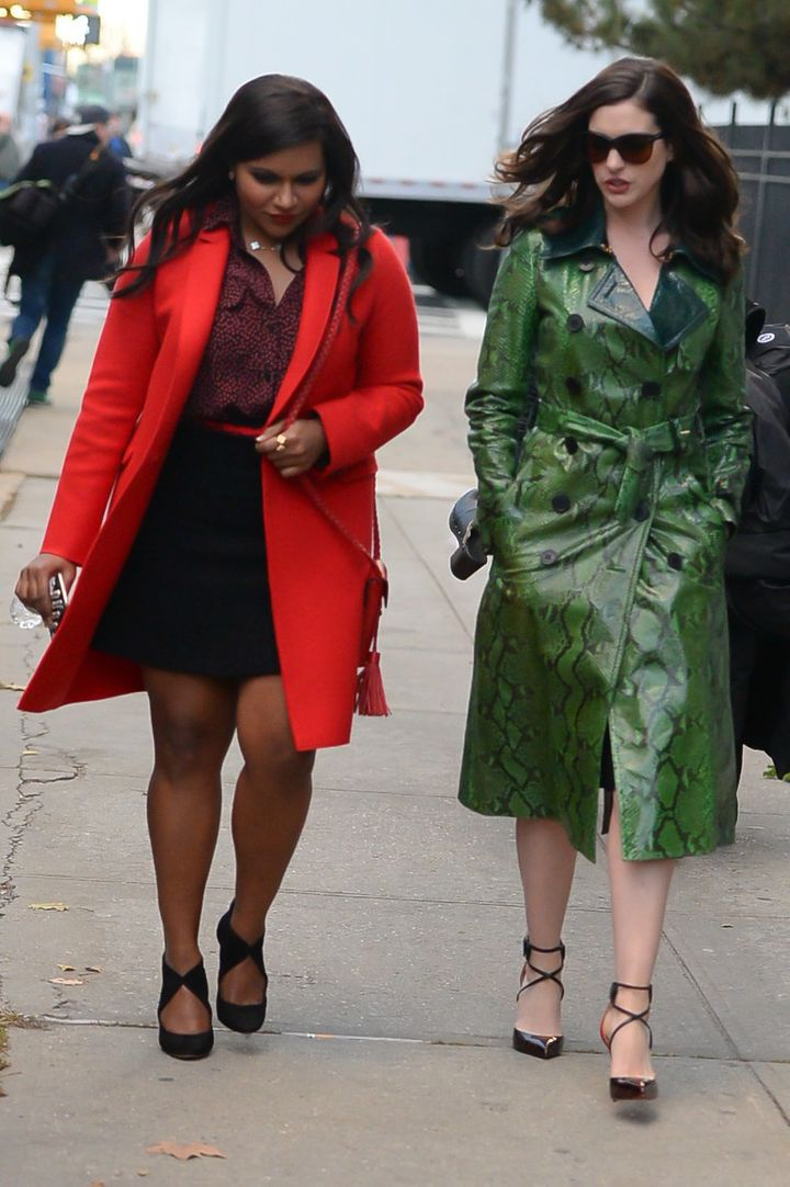 Anne Hathaway and Mindy Kaling pictured on set in New York.