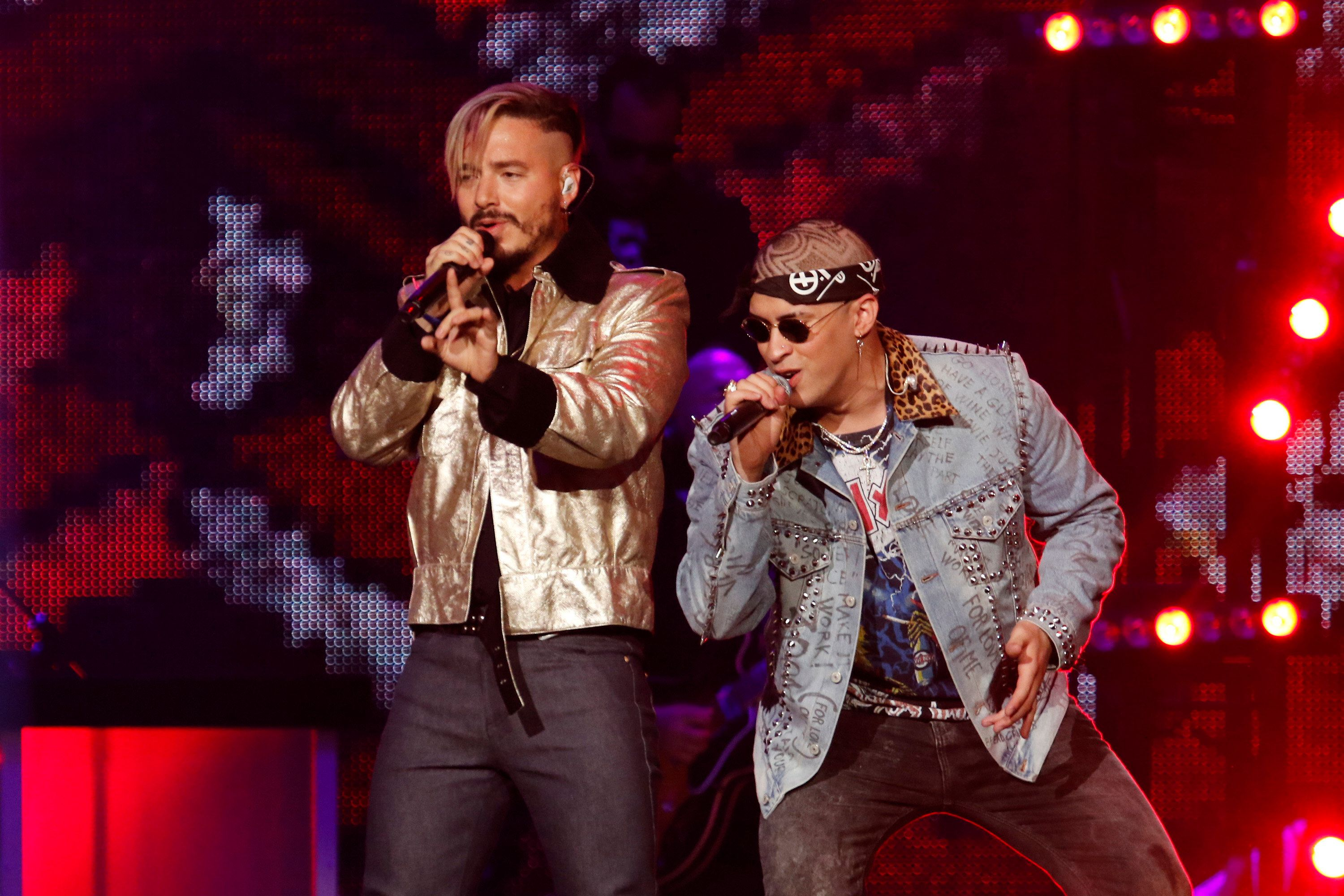 PREMIOS BILLBOARD DE LA MÚSICA LATINA 2017 -- Pictured: J Balvin and Bad Bunny perform on stage at the Watsco Center in the University of Miami, Coral Gables, Florida on April 27, 2017 -- (Photo by: John Parra/Telemundo/NBCU Photo Bank via Getty Images)