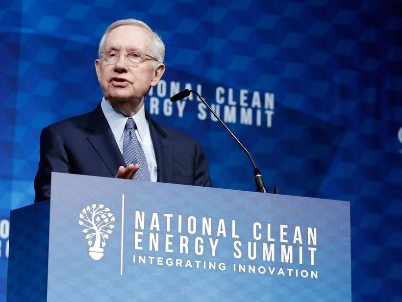 <em>Former Senate Majority Leader Harry Reid addressing the National Clean Energy Summit in Las Vegas, NV. </em>