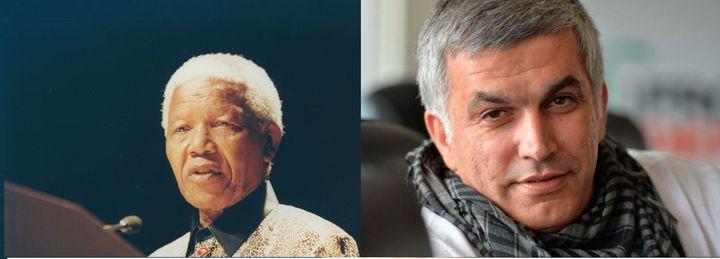 <p>Nelson Mandela and Nabeel Rajab</p>