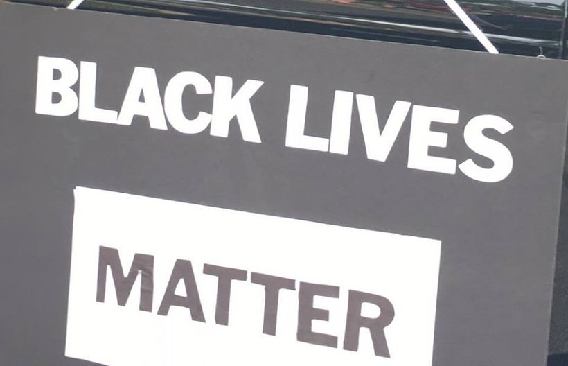 "My ""Black Lives Matter"" sign displayed during the Fourth of July parade in Hobart, Indiana"