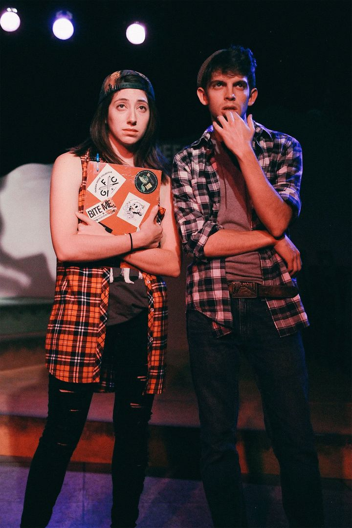 "Nate Werner as Dave, right, and his sidekick Kyle, played by Mandie Hittleman, left, in ""Weed Shop the Musical.&rd"