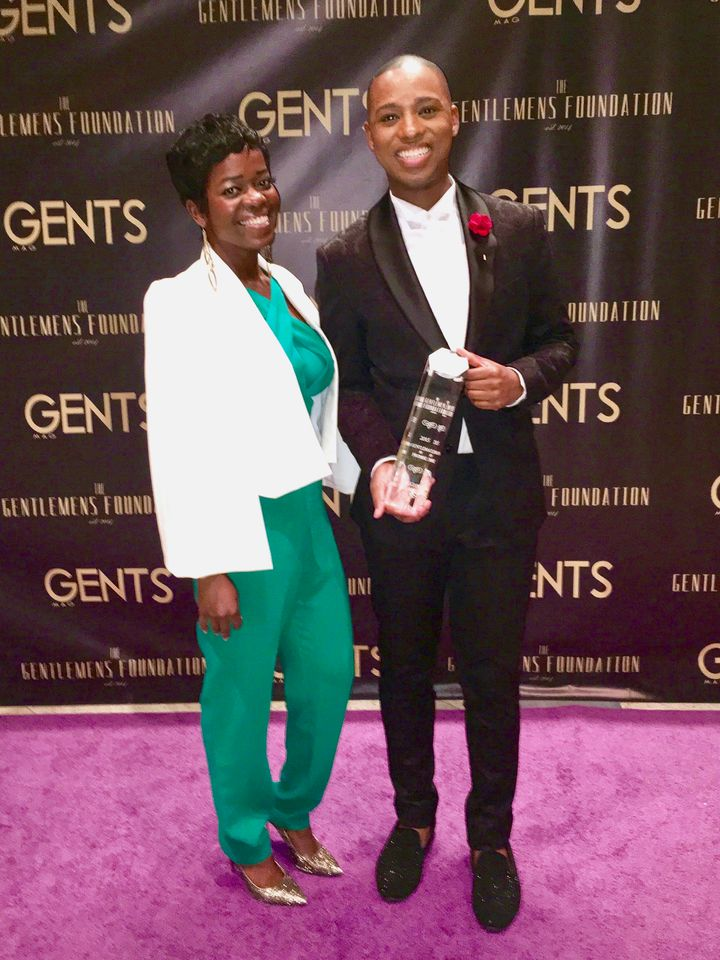 <p>Vaughn Alvarez receives the Gentlemen of Promise Award with Saptosa Foster attending the awards ceremony</p>
