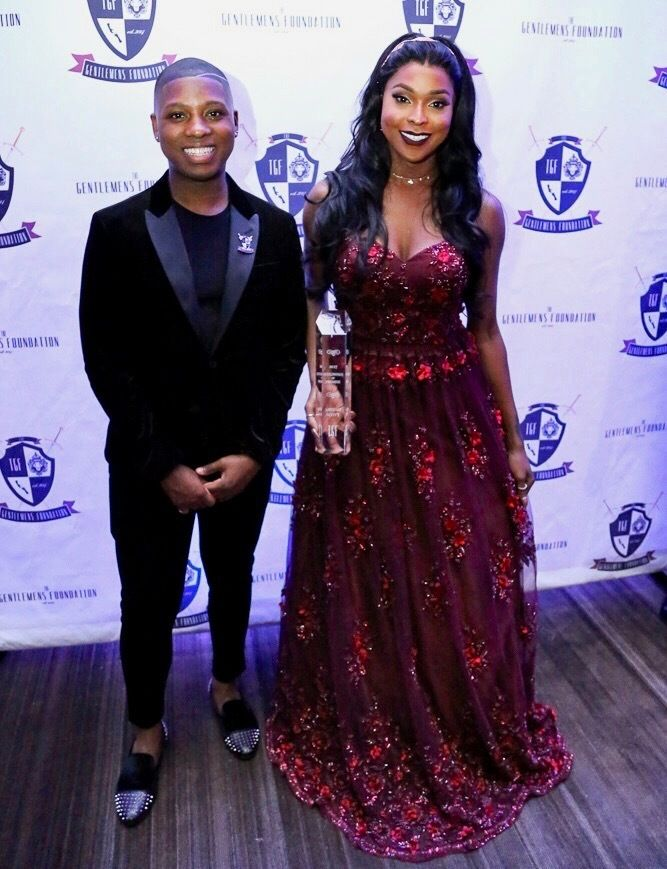 "Vaughn Alvarez with actress Amiyah Scott of Fox-TV's ""Star"" at The Gentlemen's Ball in 2017"
