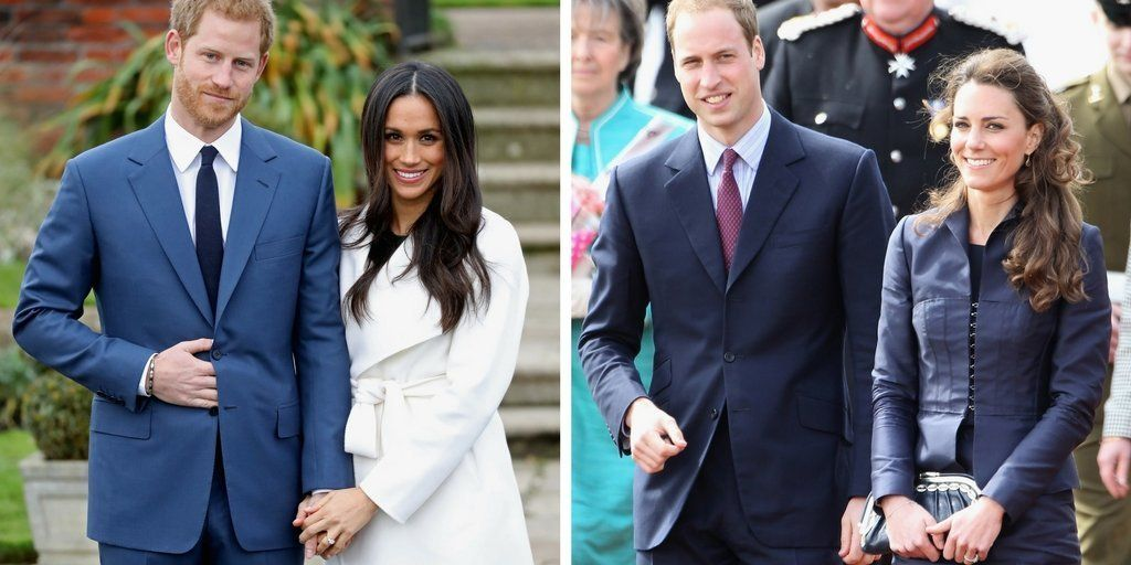 Prince Harry and Meghan Markle announced their engagement last week. To the right, Prince William and Kate Middleton are pictured three weeks before their wedding.