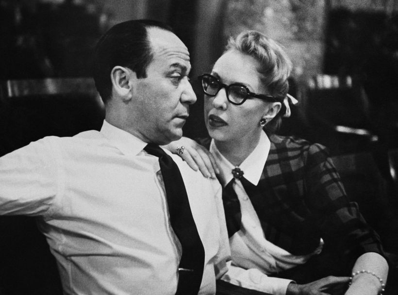 Composer Frank Loesser and his wife and singing partner Lynn Garland in NYC in 1956.