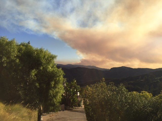 This was the view of the Skirball fire in Los Angeles, taken from my front deck on Wednesday.