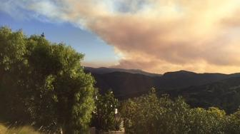 This is the view of the Getty fire in Los Angeles from the writers front deck