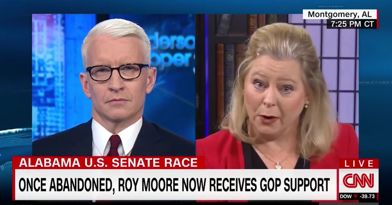 Roy Moore's spokeswoman defiantly struggles with Anderson Cooper's questions about Moore's beliefs