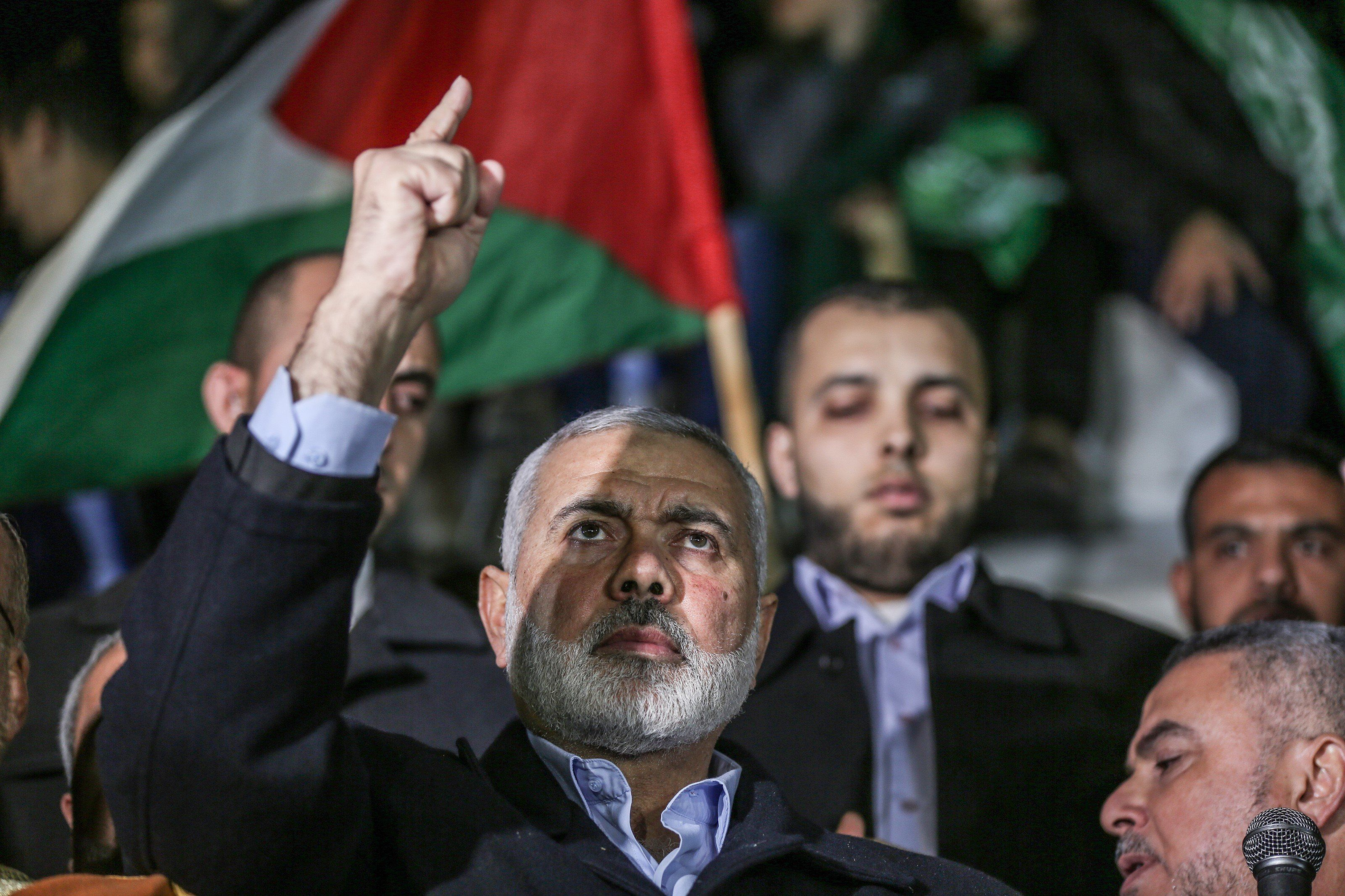 GAZA CITY, GAZA - DECEMBER 6: Head of the Political Bureau of Hamas, Ismail Haniyeh attends a protest against US President Donald Trumps recognition of Jerusalem as Israels capital, in Gaza City, Gaza on December 6, 2017. (Photo by Ali Jadallah/Anadolu Agency/Getty Images)