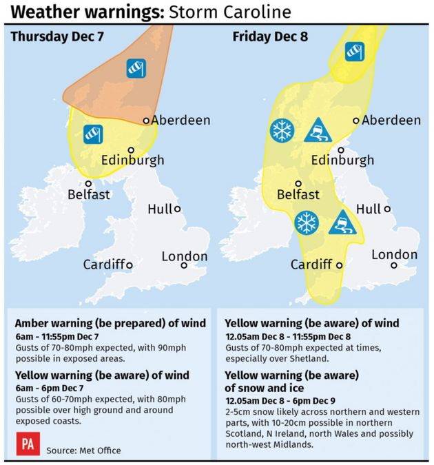 Forecasters have issued a danger to life warning as gusts of 90mph are