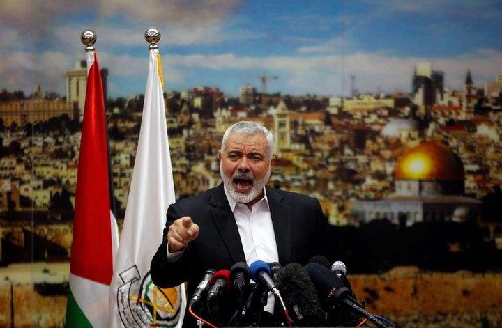 Hamas Chief Ismail Haniyeh delivers a speech on Jerusalem in Gaza City, December 7, 2017.