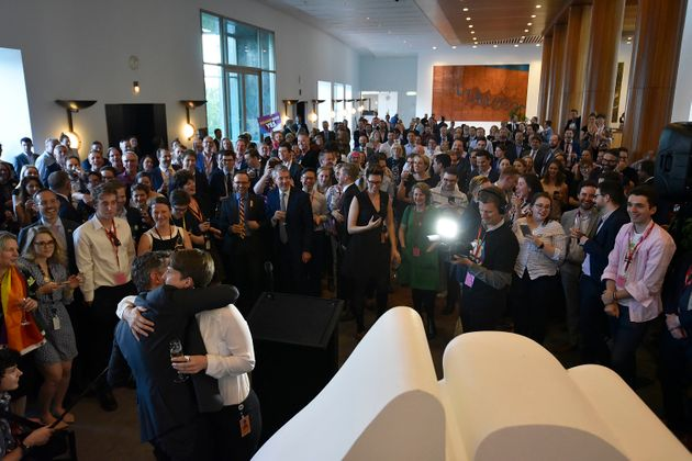 Celebrations take place for supporters of the passing of the marriage equality bill on December 7, 2017...