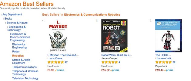 'I, Maybot' appears at the top of Amazon's robotics best sellers