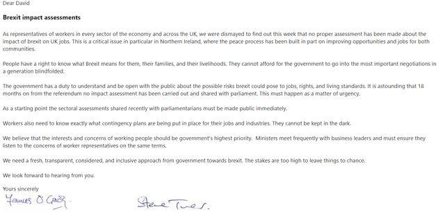 Frances O'Grady and Steve Turner's letter to David
