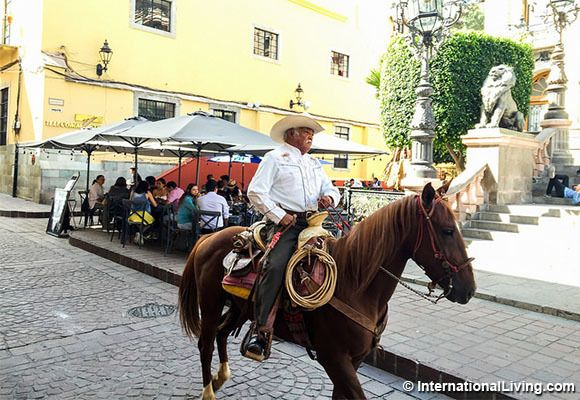 Cowboy on the street, Guanajuato, Colonial Highlands, Mexico.