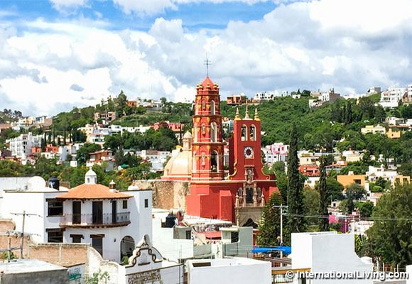 Red church, Marfil neighborhood, Guanajuato, Colonial Highlands, Mexico.