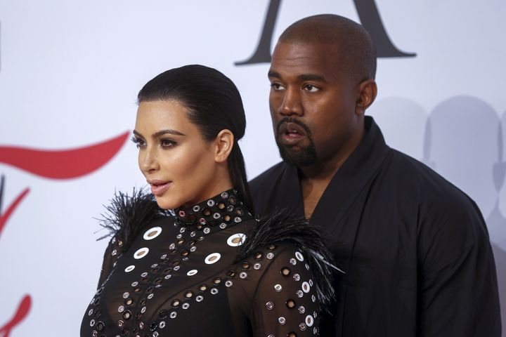 Kim Kardashian and Kanye West at the CFDA Fashion Awards on June 1, 2015.