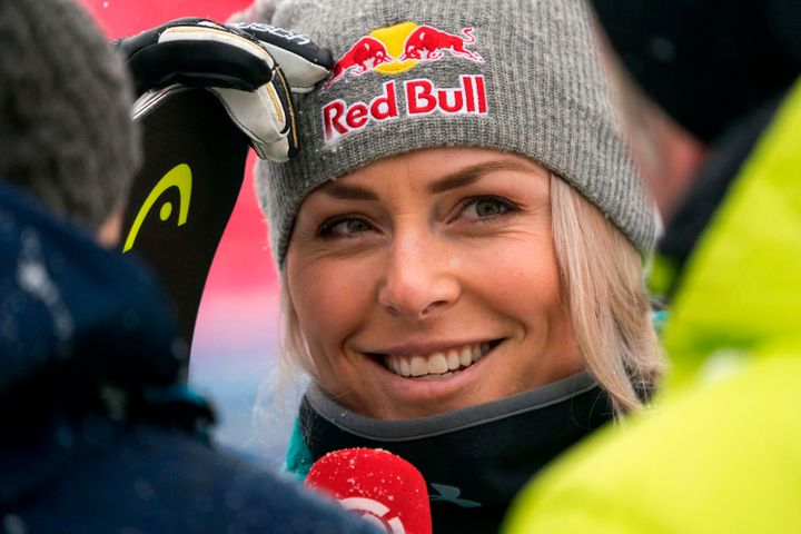 Lindsey Vonn talking with reporters on Nov. 28 in Lake Louise, Alberta.