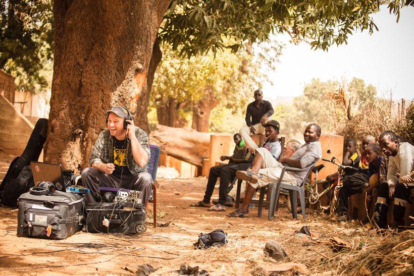 Mark Johnson recording in Bamako, Mali.