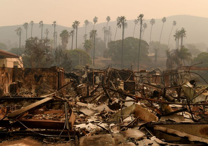 Trees are seen through the haze at the burn-out Vista del Mar Hospital after the Thomas wildfire swept through Ventura on Wed