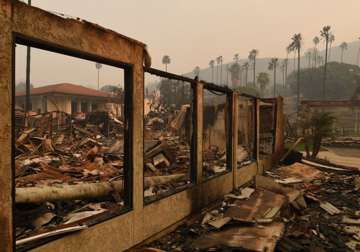 A wall stands in the burned-out Vista del Mar Hospital after the Thomas wildfire swept through Ventura, California, on Wednes